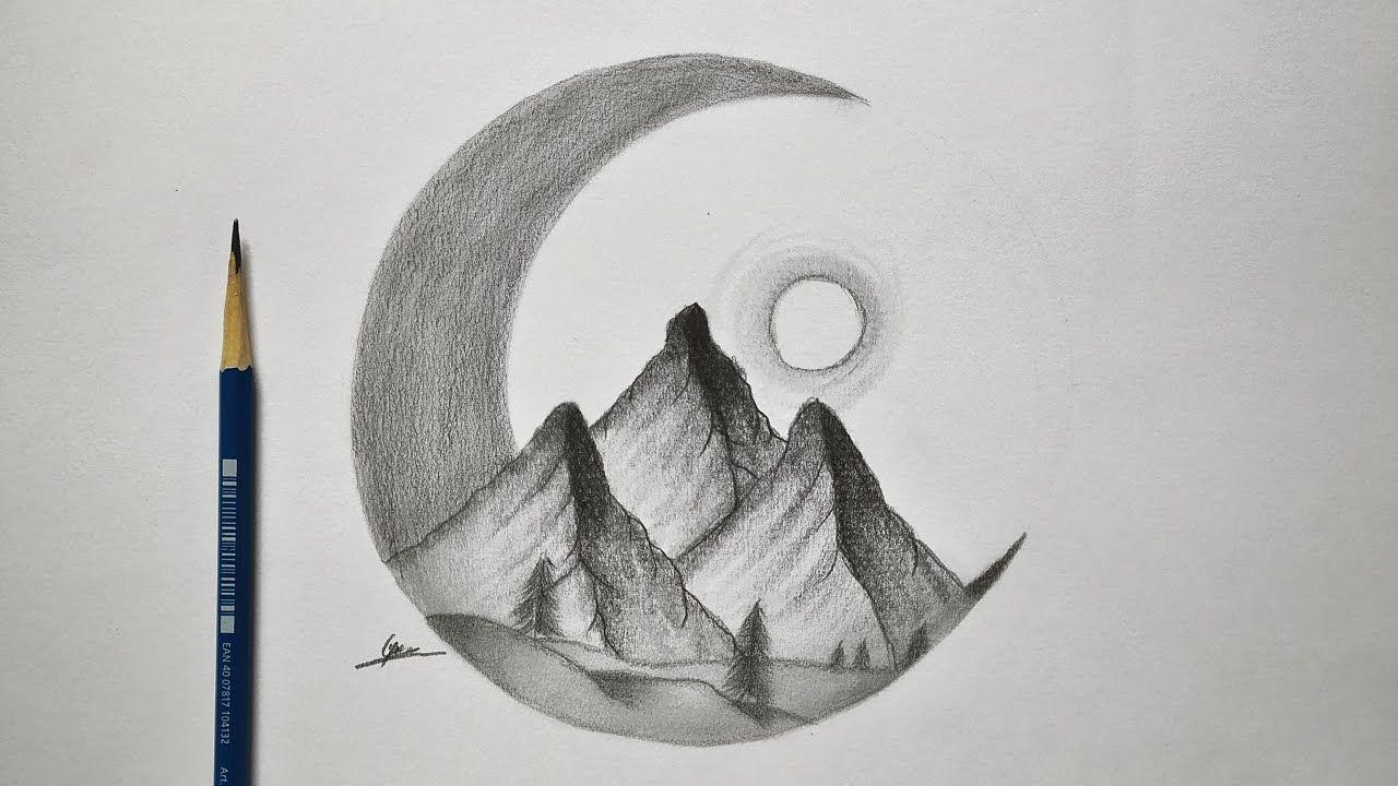 How To Draw An Easy Night Landscape Easy And Simple Drawing Easy Sketc Tutoriais De Desenho A Lapis Desenho A Lapis Tutoriais De Desenho