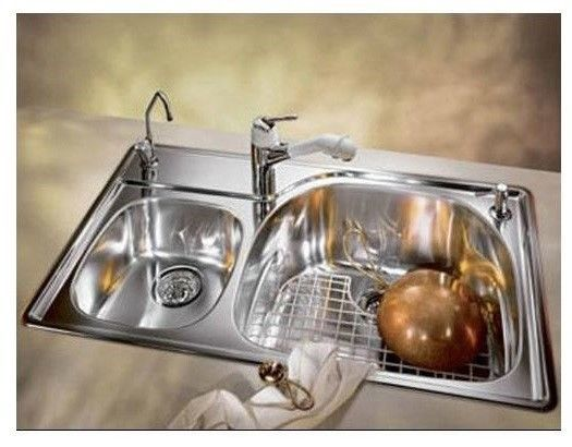 franke pcx620 lh prestige double bowl stainless steel kitchen sink drop in - Drop In Stainless Steel Kitchen Sinks