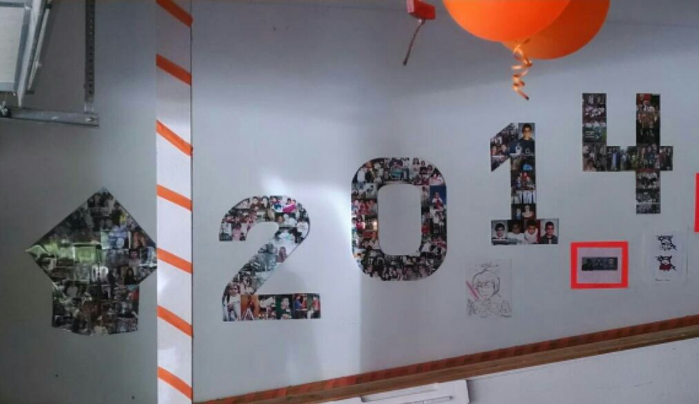 Picture display, made with white poster board cut into numbers or shapes.