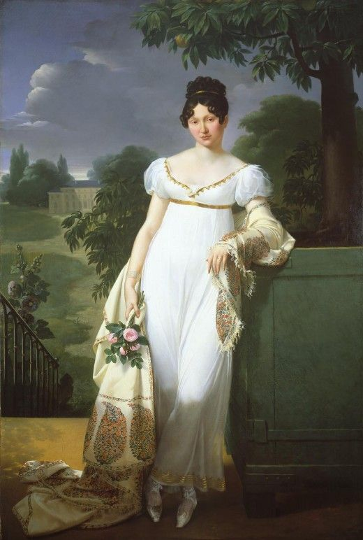 Ladies clothing of the early 1800's featured a high waist line called  Empire and employed the use of soft, light weight fabrics . Later Romantic style included large sleeves and decorated hems.