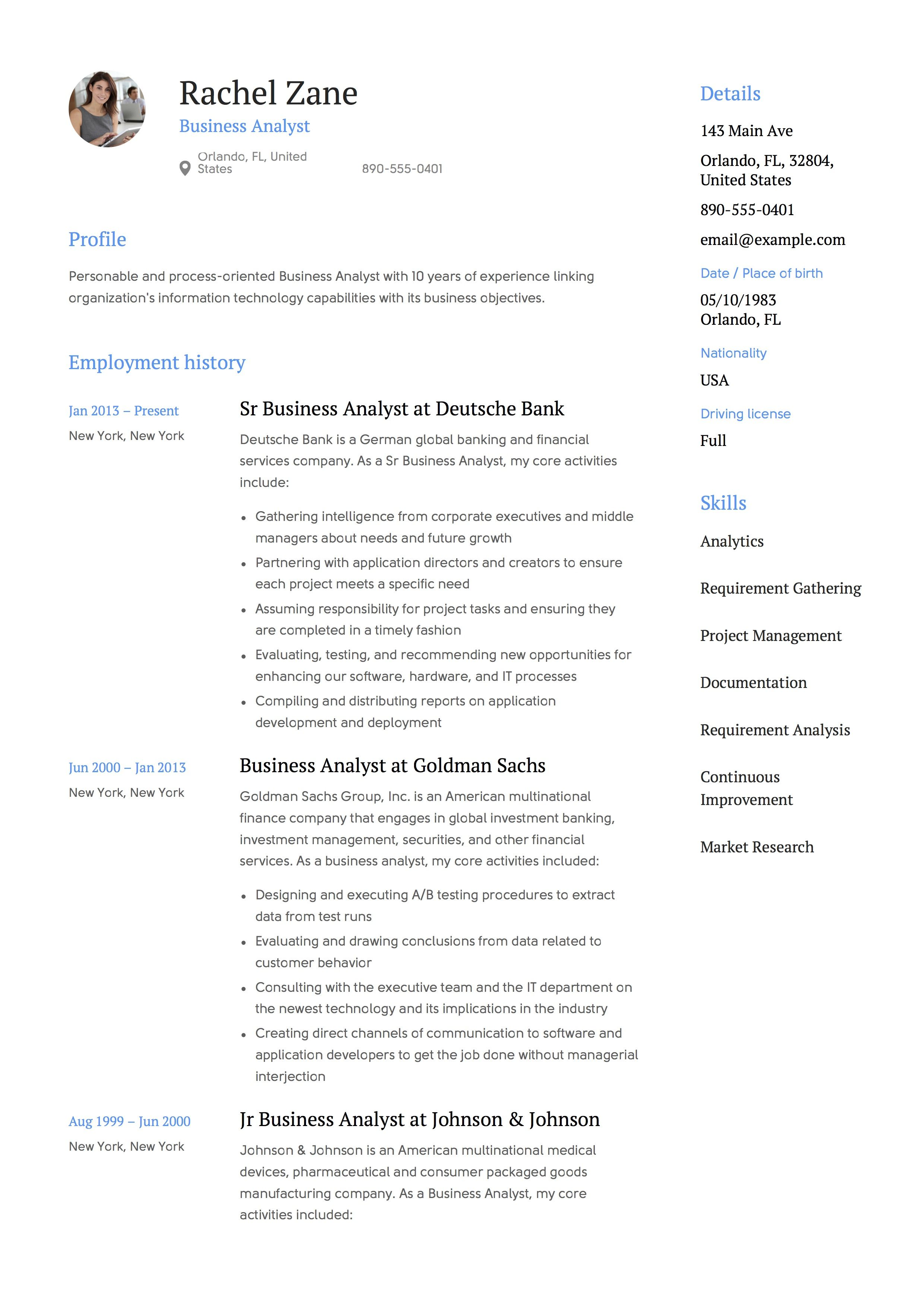Business analyst resume guide business analyst resume