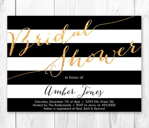 Black white gold stripe bridal shower invitation printable black white gold stripe bridal shower invitation printable bridal shower invite on etsy 1400 filmwisefo