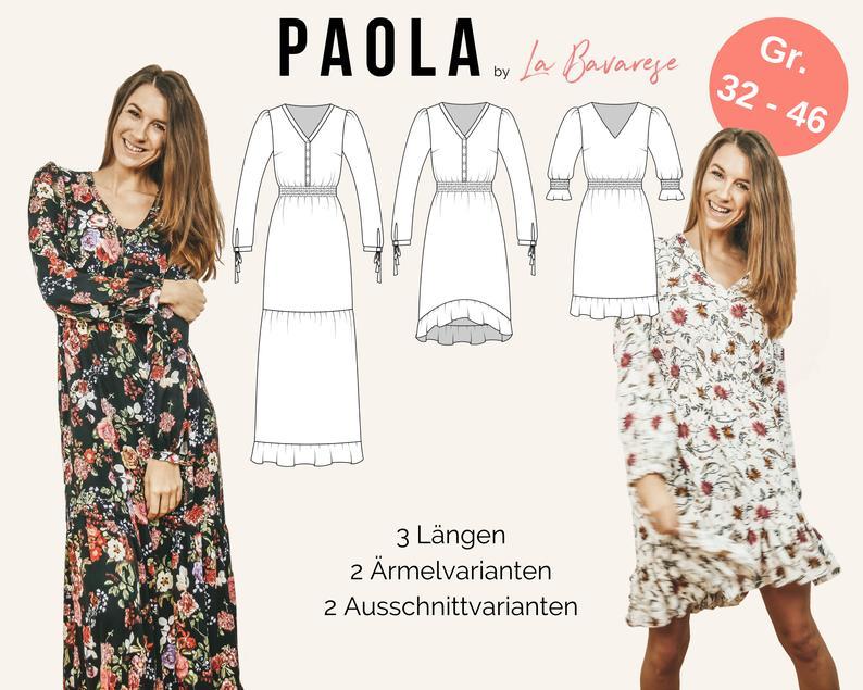 Maxikleid Bohokleid Paola Pdf Schnittmuster Gr 32 50 In 2020 Dresses With Sleeves Long Sleeve Dress Dirndl
