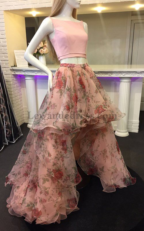 3979ef0f80 Hi Lo Layers Organza 51098 Floral Printed Two Piece Prom Dress 2018 Blush