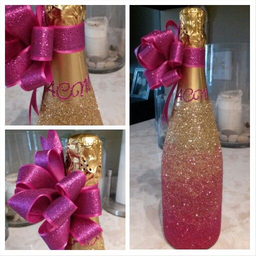 Ombre Glitter Monogrammed Champagne Bottle I made for my Ang's Birthday