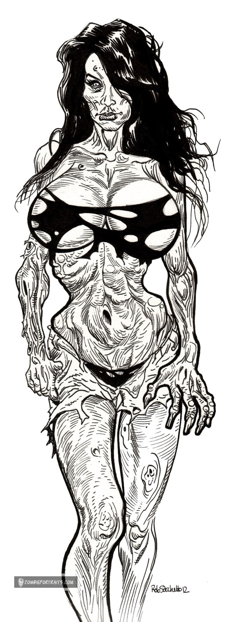 Zombie Pinup Diva 4 Brunette Brain Eater Zombie Art by Rob