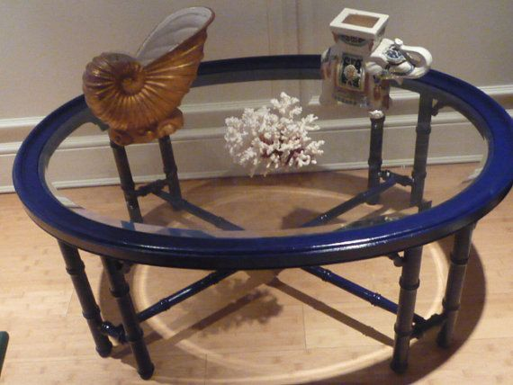 RESERVED for Shannon Vintage Faux Bamboo Coffee Table Glass