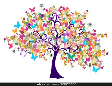 Spring Tree Clip Art Spring Time Tree Stock Vector Clipart