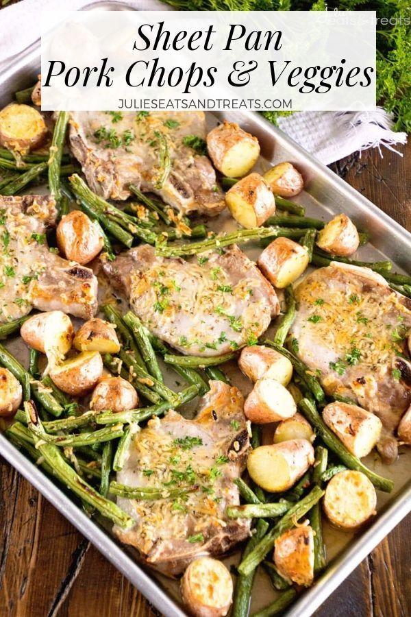 Sheet Pan Parmesan Pork Chops and Vegetables is a great Pork Chop Dinner Idea A healthy pork chop recipe that has juicy bonein pork chops and roasted asparagus and potato...