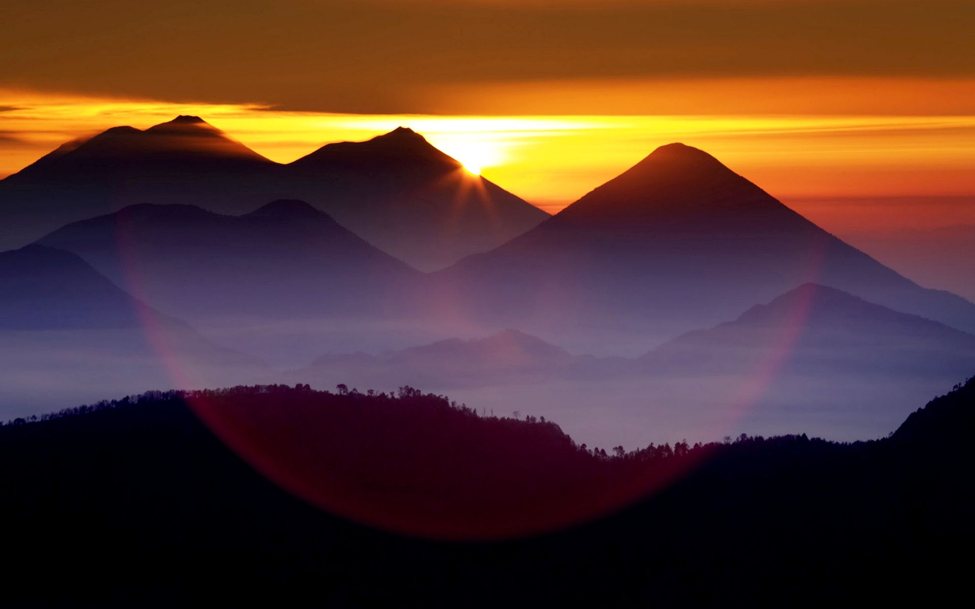 Download Desktop Wallpaper Sunset Over The Mountains Waterfall Landscape Mountain Sunset Sunset Images