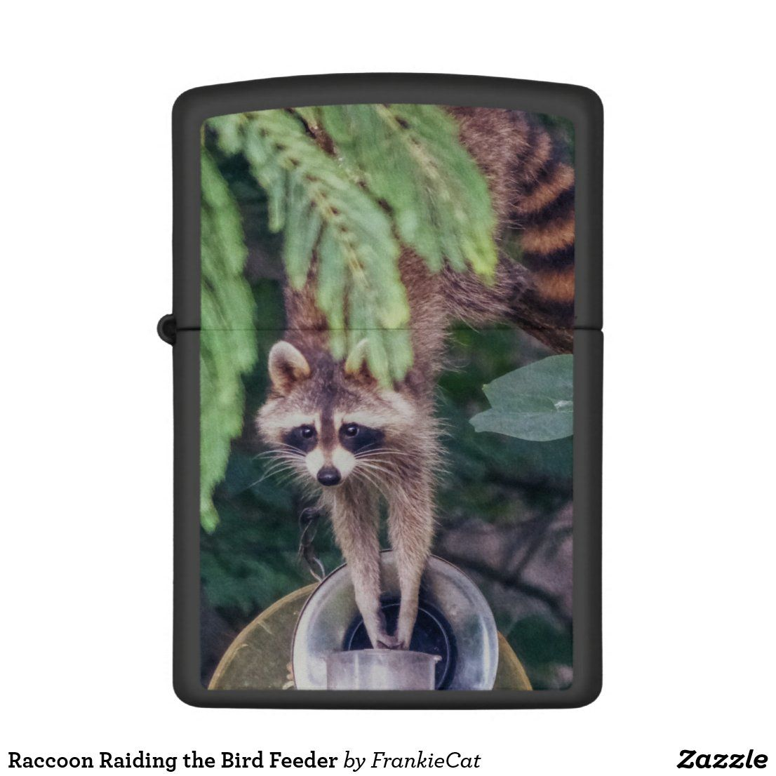 Raccoon Raiding the Bird Feeder Zippo Lighter