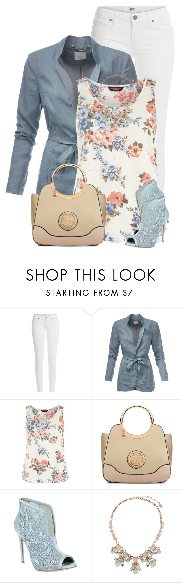 """Light Blue Ankle Booties"" by daiscat ❤ liked on Polyvore featuring Paige Denim, Dorothy Perkins, Dasein, BCBGMAXAZRIA and Accessorize"