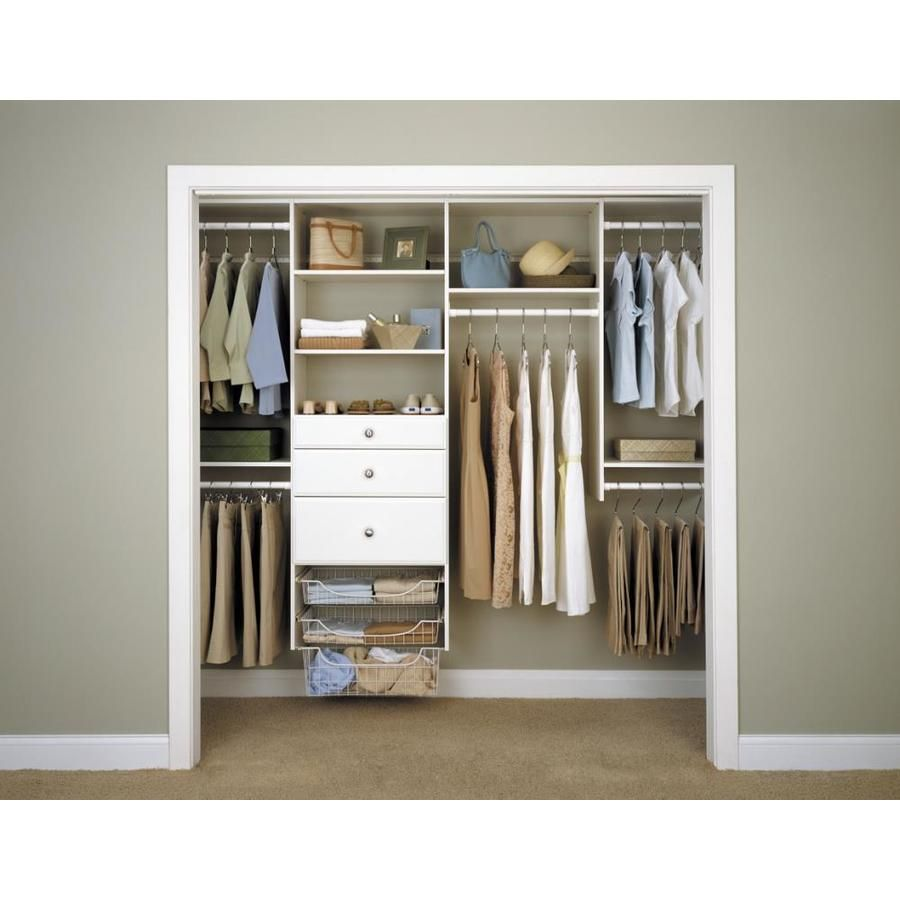 Easy Track 8 Ft W X 7 Ft H White Wood Closet Kit At Lowes Com