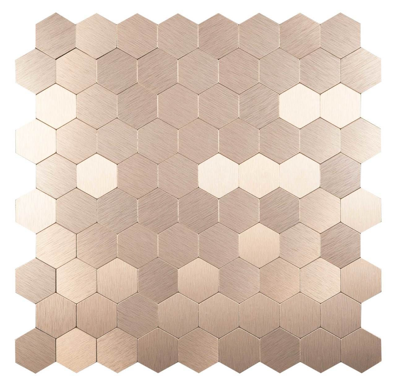 Peel Stick Stainless Steel Tile Hexagon Bronze For Kitchen