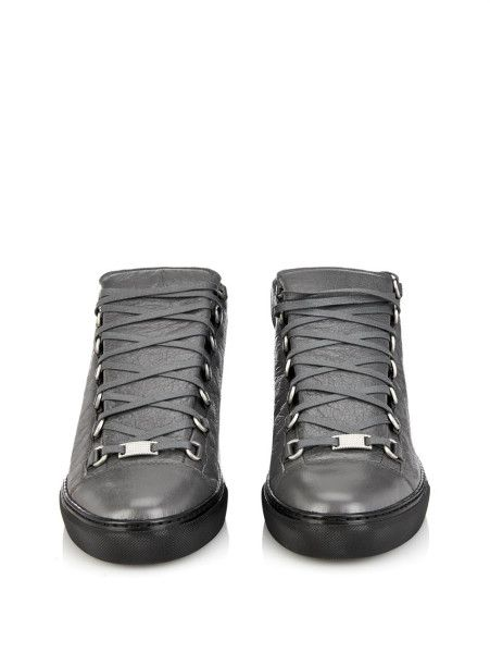 09fdfcbed2c4 Balenciaga Arena Leather High-Top Trainers in Gray for Men (Gris Hematite)