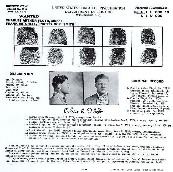 United States Bureau of Investigations Wanted Poster for Charles - criminal wanted poster