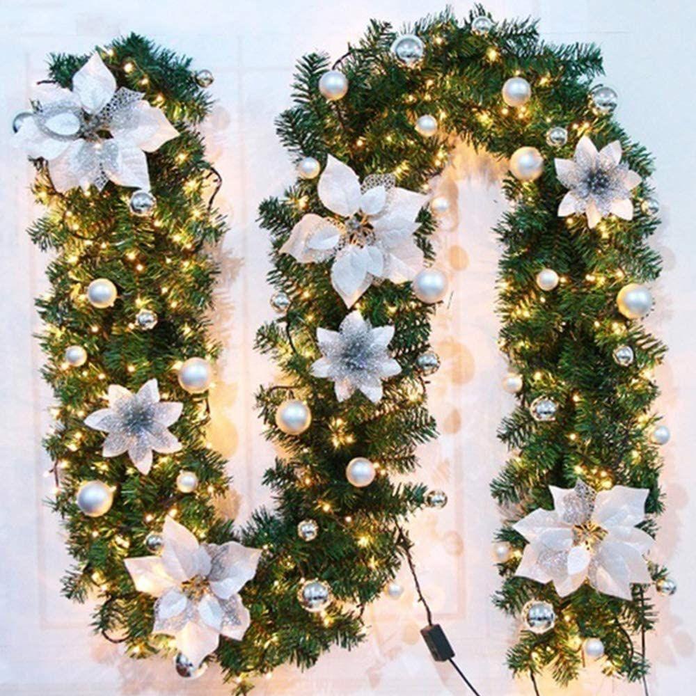 Faraone4w Christmas Garland Ornament 2 7m With Led Light Shopping Mall Window Simulation Christma In 2020 Christmas Decorations White Christmas Decor Hanging Ornaments