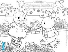 Celebrate Easter With The Sylvanian Families Coloring Page Family Coloring Pages Family Coloring Family Drawing