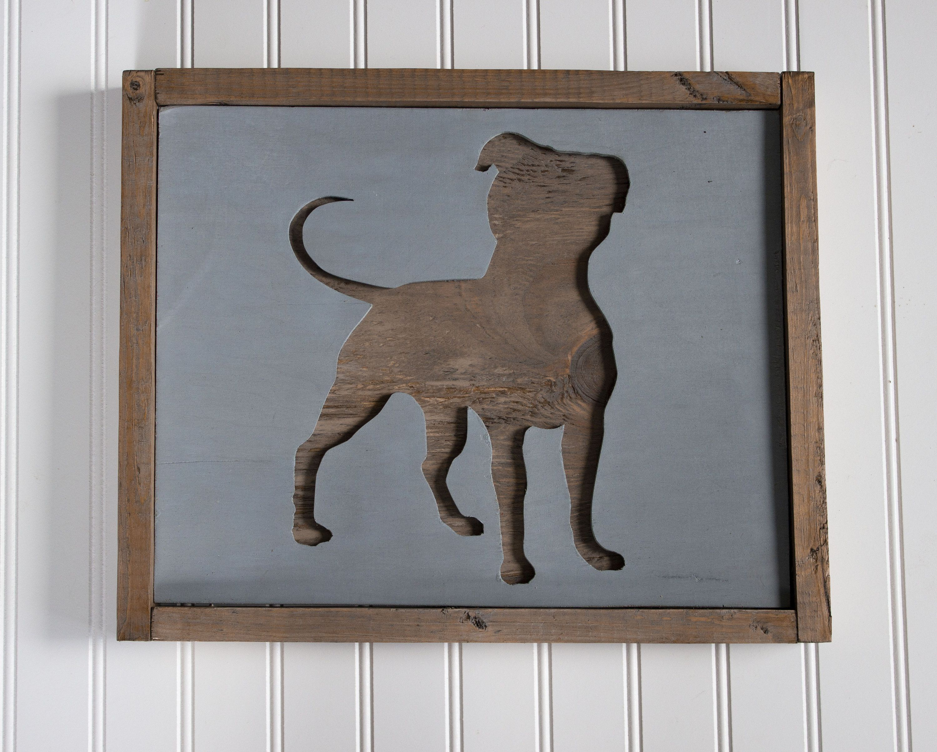 Pitbull Silhouette on White Painted Wood with Wood Frame Farmhouse Decor Dogs Custom Dog Portraits Gift for Dog Lovers Dog Mom Dad