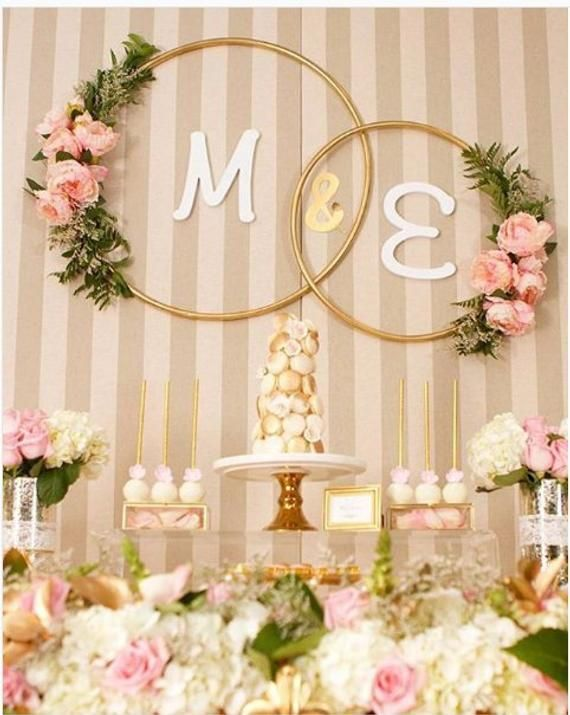 Gold metal 25″ hoops for Wedding Hanging Sign Floral Hoop Hanging Wedding & Party Decor/ Wedding decor/ Engagement decor/ hoops with flowers