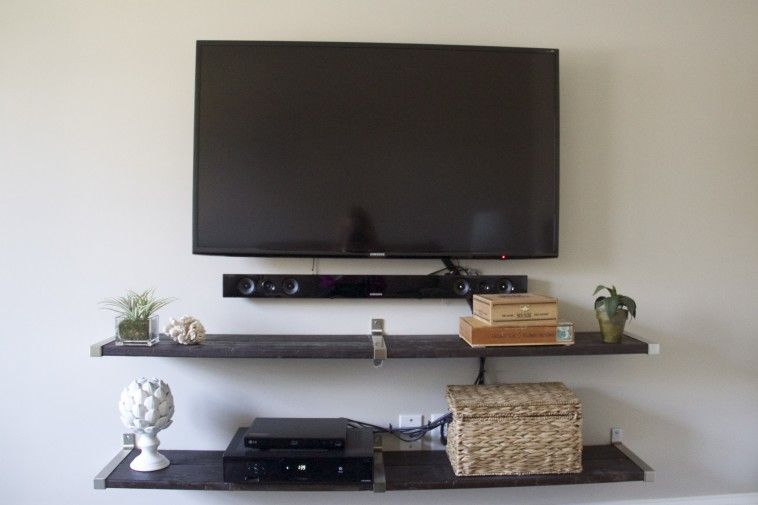 18 Chic And Modern Tv Wall Mount Ideas For Living Room Wall Mount Tv Shelf Tv Wall Shelves Wall Mounted Tv What to put under wall mounted tv