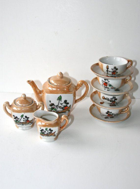 1930s mickey minnie mouse lusterware 13 piece tea by studiosisu