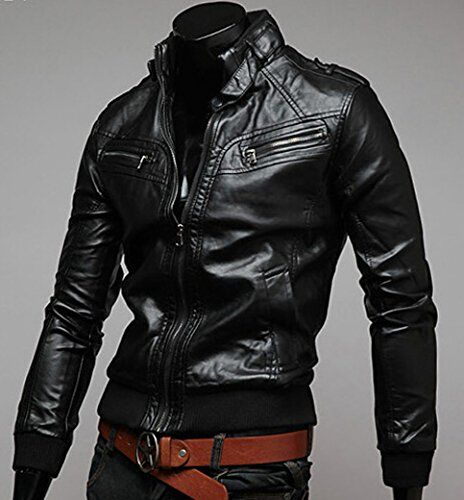 Tangda Blouson Cuir Homme Silm Moto Cool Manteau Jacket Zippé Mode Casual  Veste 30bb73bf1ce1