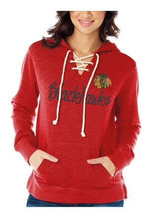 e3a2a7ec5f7 Chicago Blackhawks Womens Red Slub Fleece Hoodie