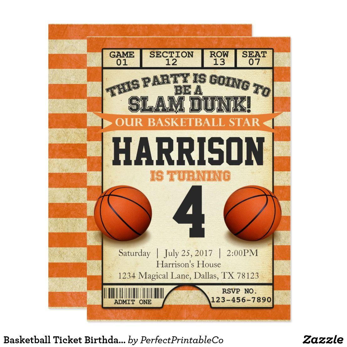 Basketball Ticket Birthday Party Invitation Invite | Pinterest ...