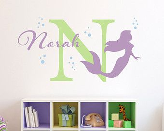 Girl Wall Decal Name Mermaid Wall Decal Girls Room By PonyDecal