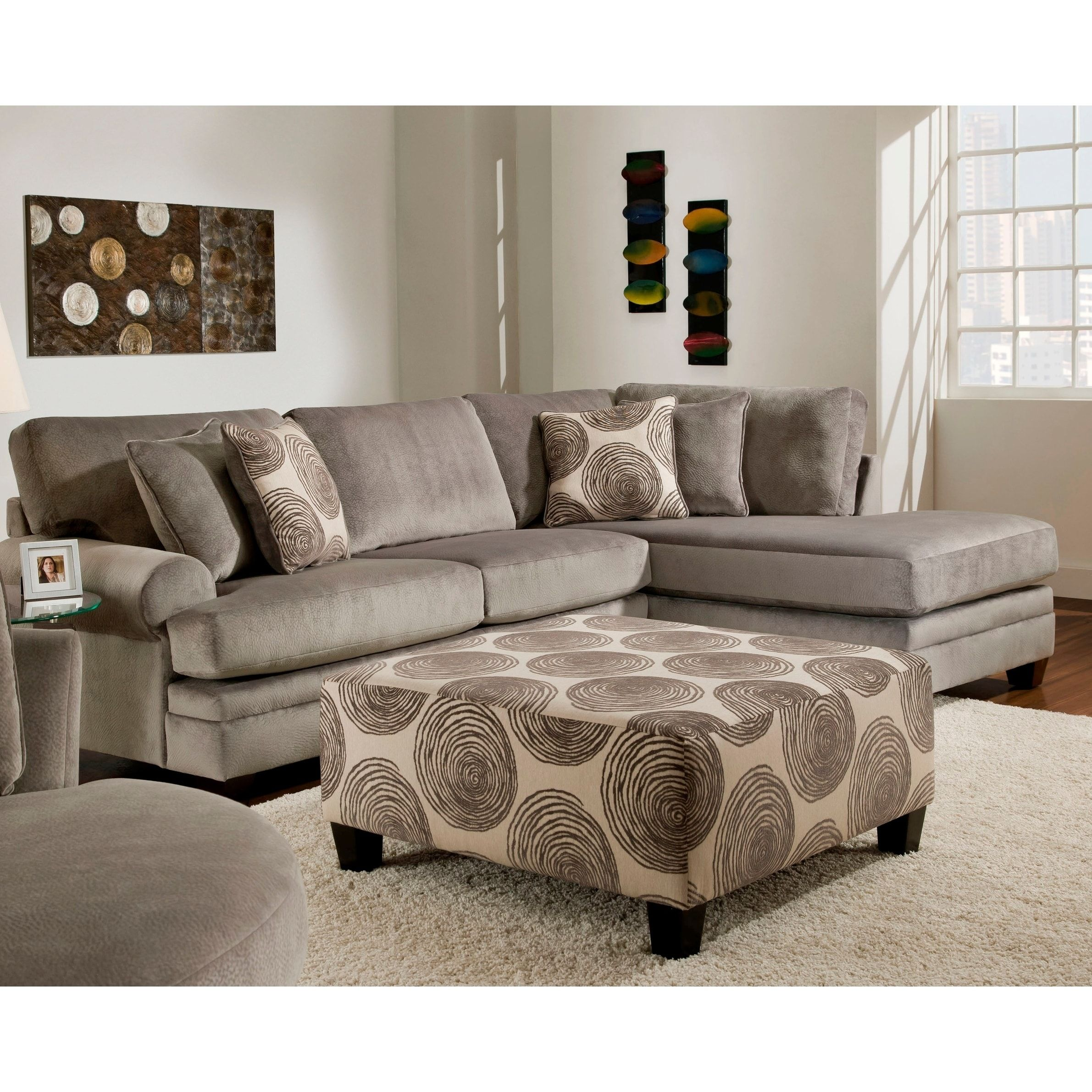 SofaTrendz Padded Micro Suede Sectional and Ottoman Set Smoke