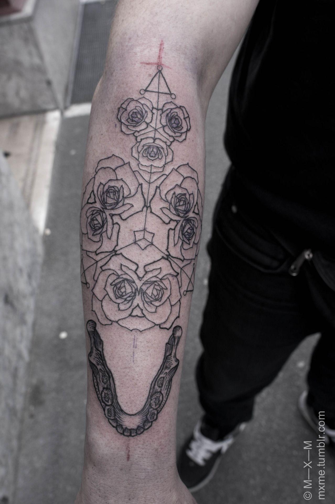 Jaw Drop Girl Tattoo Roses: Kaleidoscopic Roses And Teeth