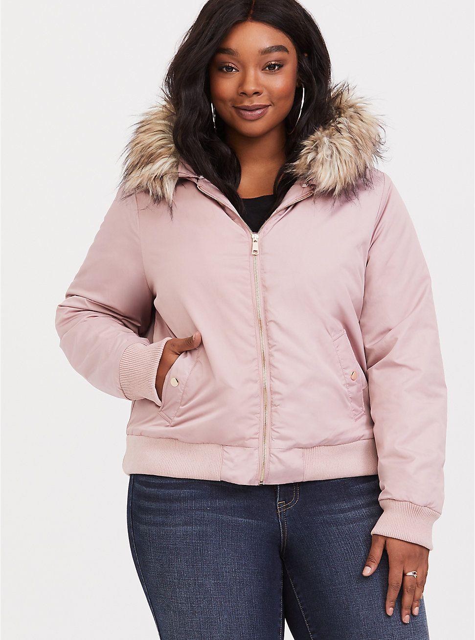 dee1cc4b7e3 Pink Faux Fur Hoodie Bomber Jacket