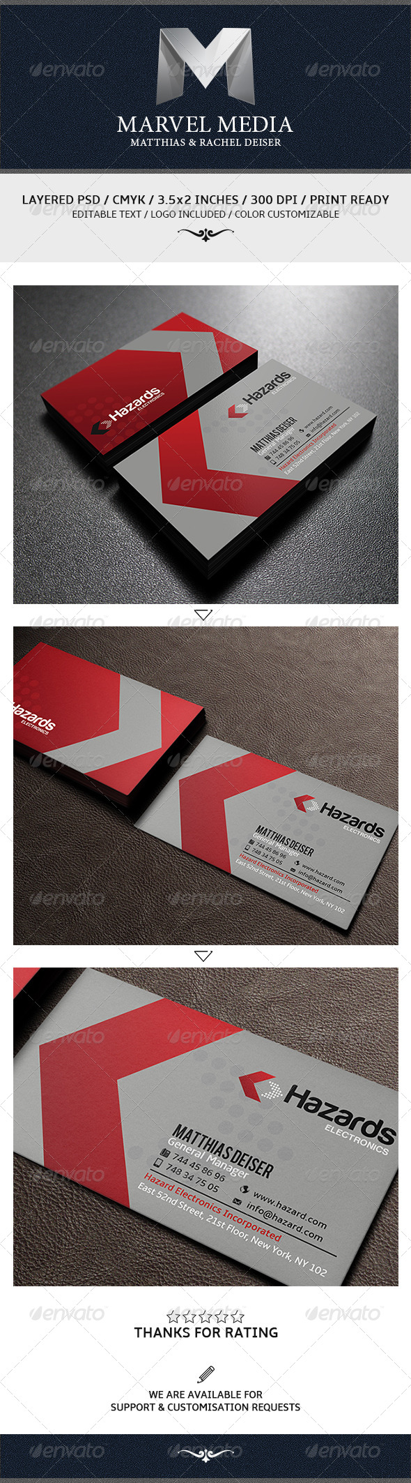 Red Corporate Business Card E Corporate Identity Pinterest