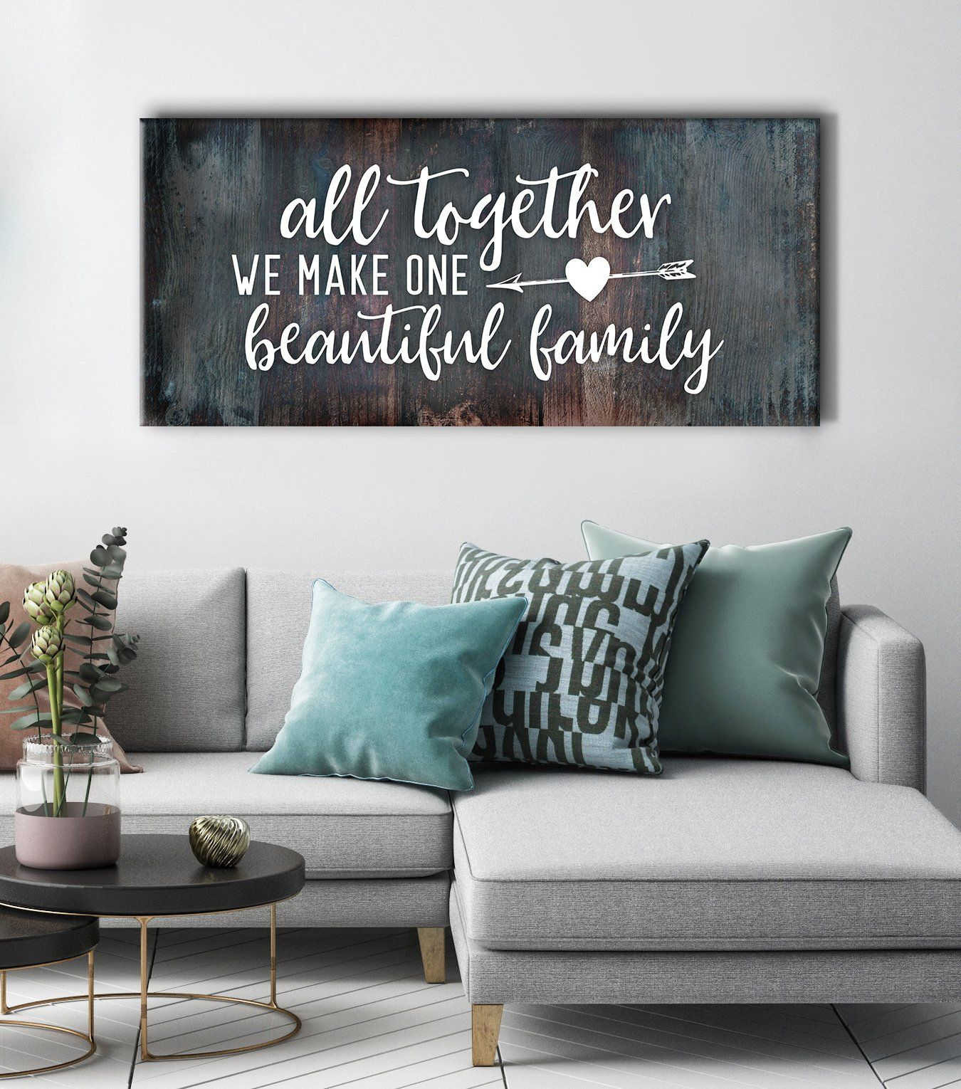 Family Wall Art: All Together We Make One Beautiful Family (Wood Frame Ready To Hang)