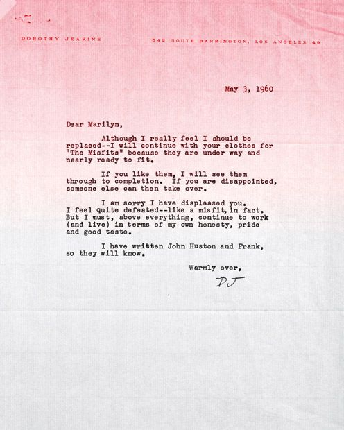 The private files of Marilyn Monroe Attrici, Costume a tema - disagreement letter
