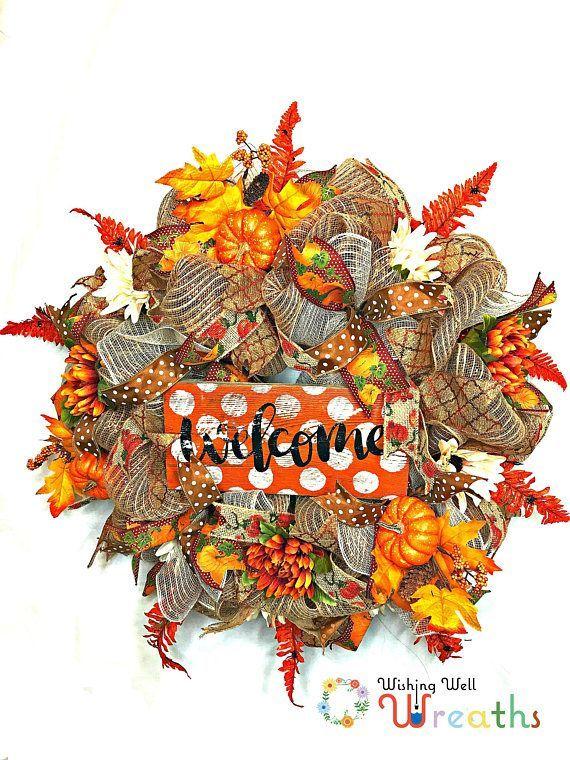 burlap welcome fall wreath fall welcome wreath fall rustic wishingwellwreaths etsy com