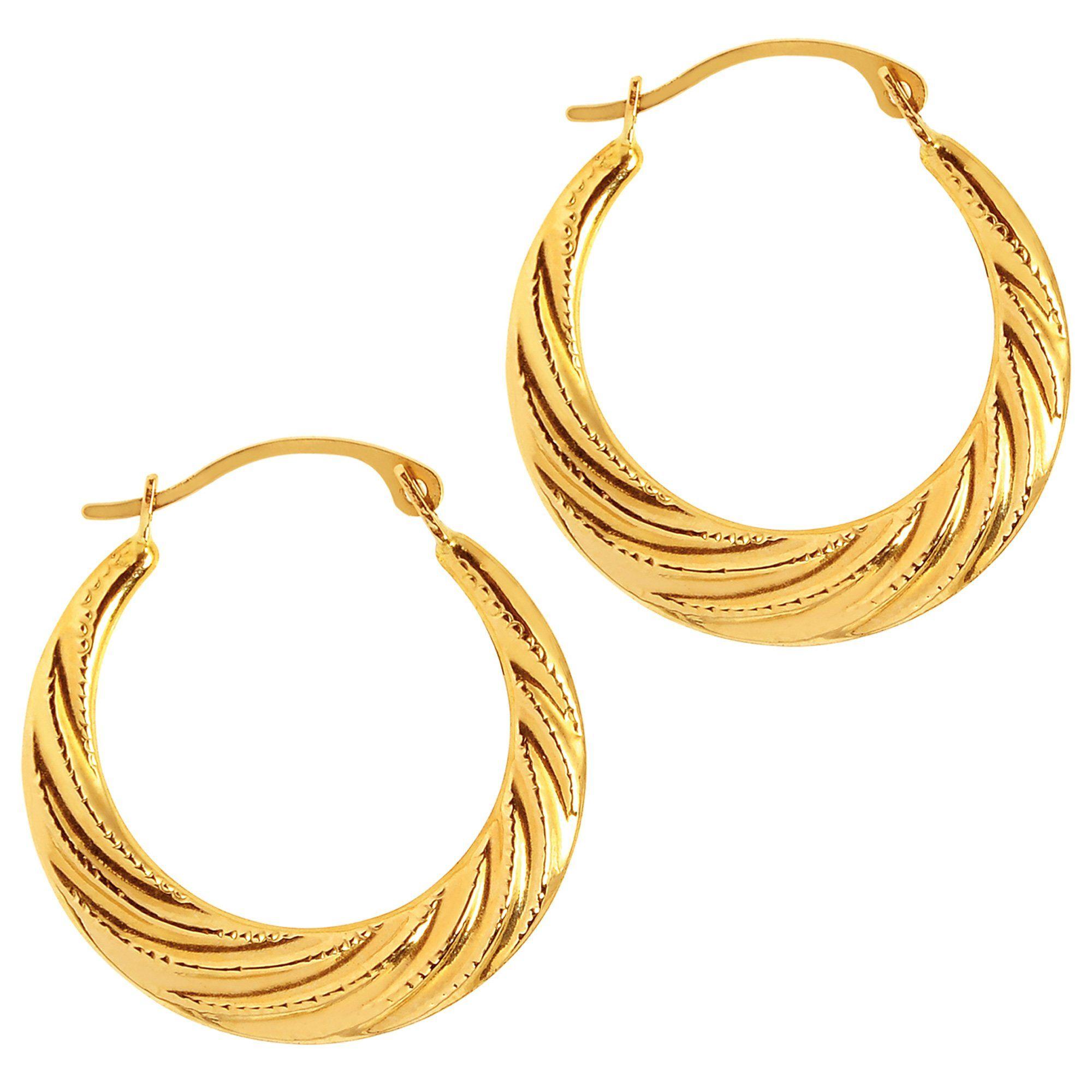14k Yellow Gold Hoop Earrings 20mm Diameter