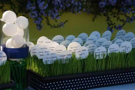 golf theme wedding place cards | love the little balls sitting there in the rough! Looks so cute!