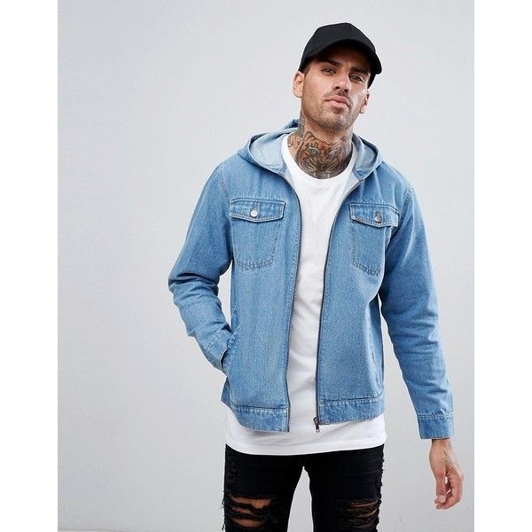 248b545097 Ascend Denim Acid Wash Jacket with Hood ( 67) ❤ liked on Polyvore featuring  men s fashion