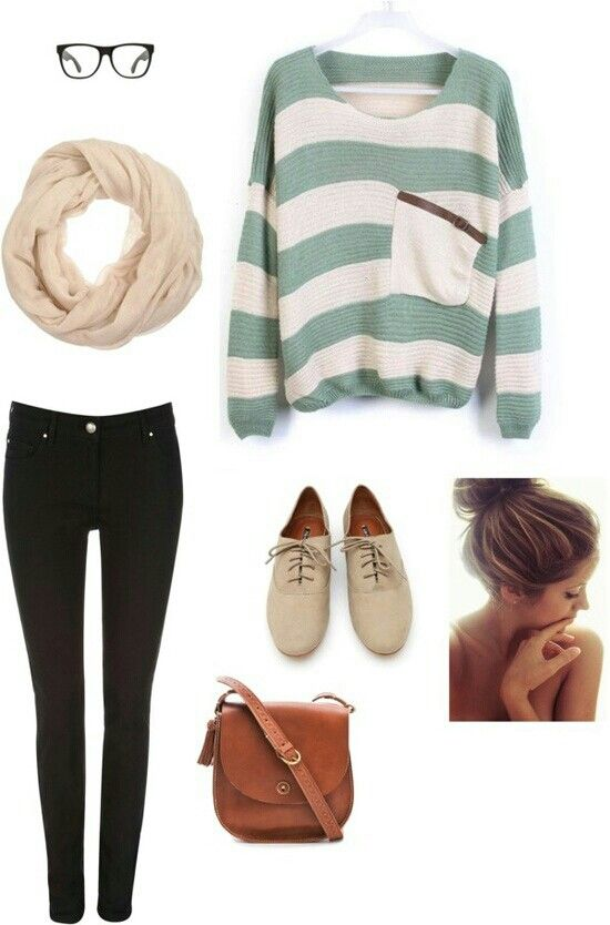 Black pants, blue and white sweaters, nude scarf and shoes. Perfect forba cold day.