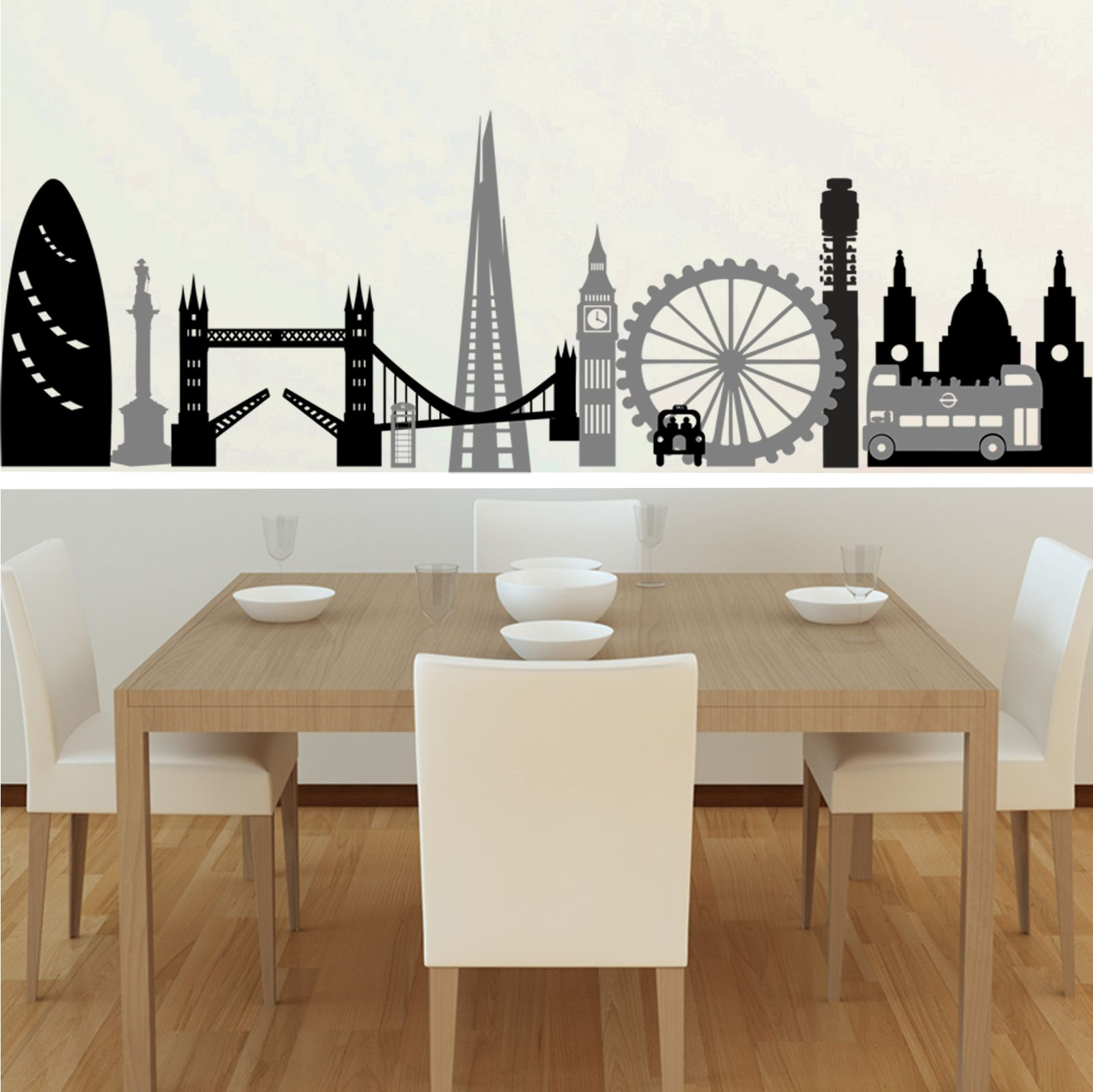 Black And Dark Grey London Montage Wall Decal In A Dining Room
