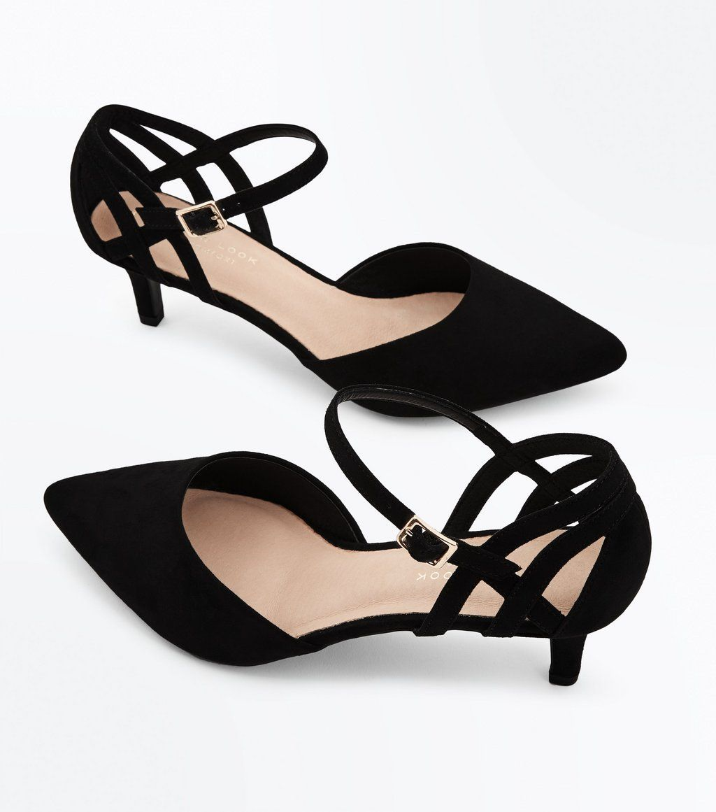 d7a538b63 Wide Fit Black Comfort Flex Suedette Pointed Kitten Heels in 2019 ...