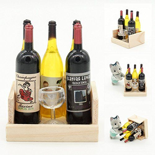 5 Wine Juice Bottles 1:12 Kitchen Dining Drink Miniature Toy For Re-ment Orcara