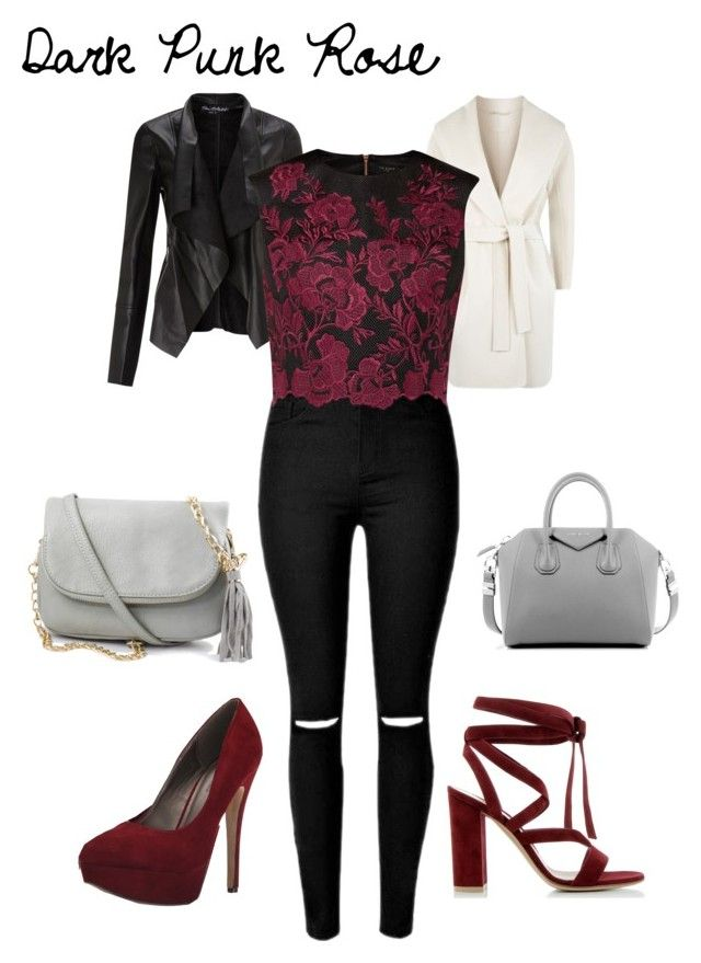 """""""Dark Punk Rose"""" by seana-routzahn on Polyvore featuring MaxMara, Miss Selfridge, Ted Baker, Gianvito Rossi, Michael Antonio, Givenchy, women's clothing, women, female and woman"""