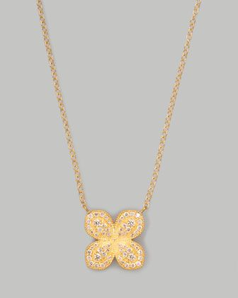 Jamie Wolf Scalloped Pave Diamond Flower Necklace ZXbeei3Ch6