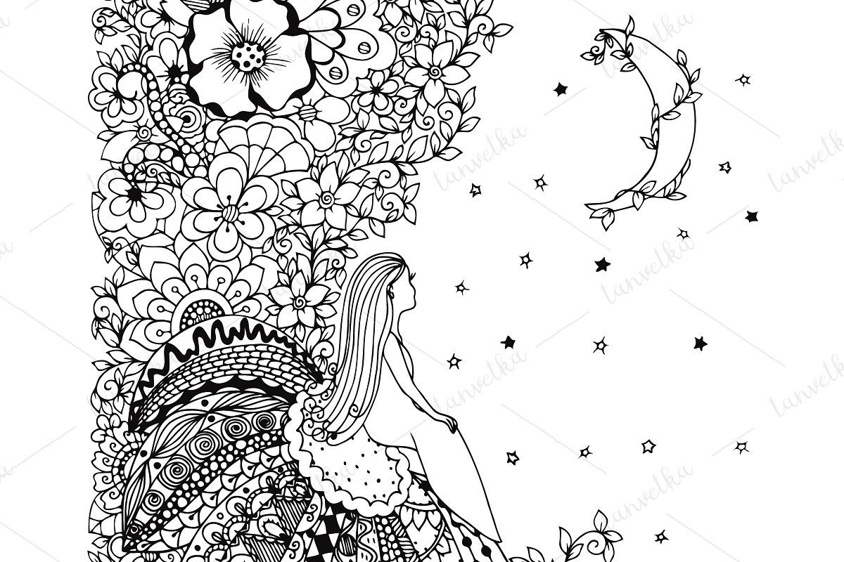 Doodle Girl Looks At The Moon In 2020 Doodle Girl Summer Drawings Patterns In Nature