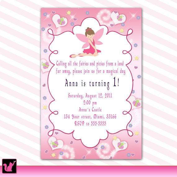 fairy invitation girl birthday baby