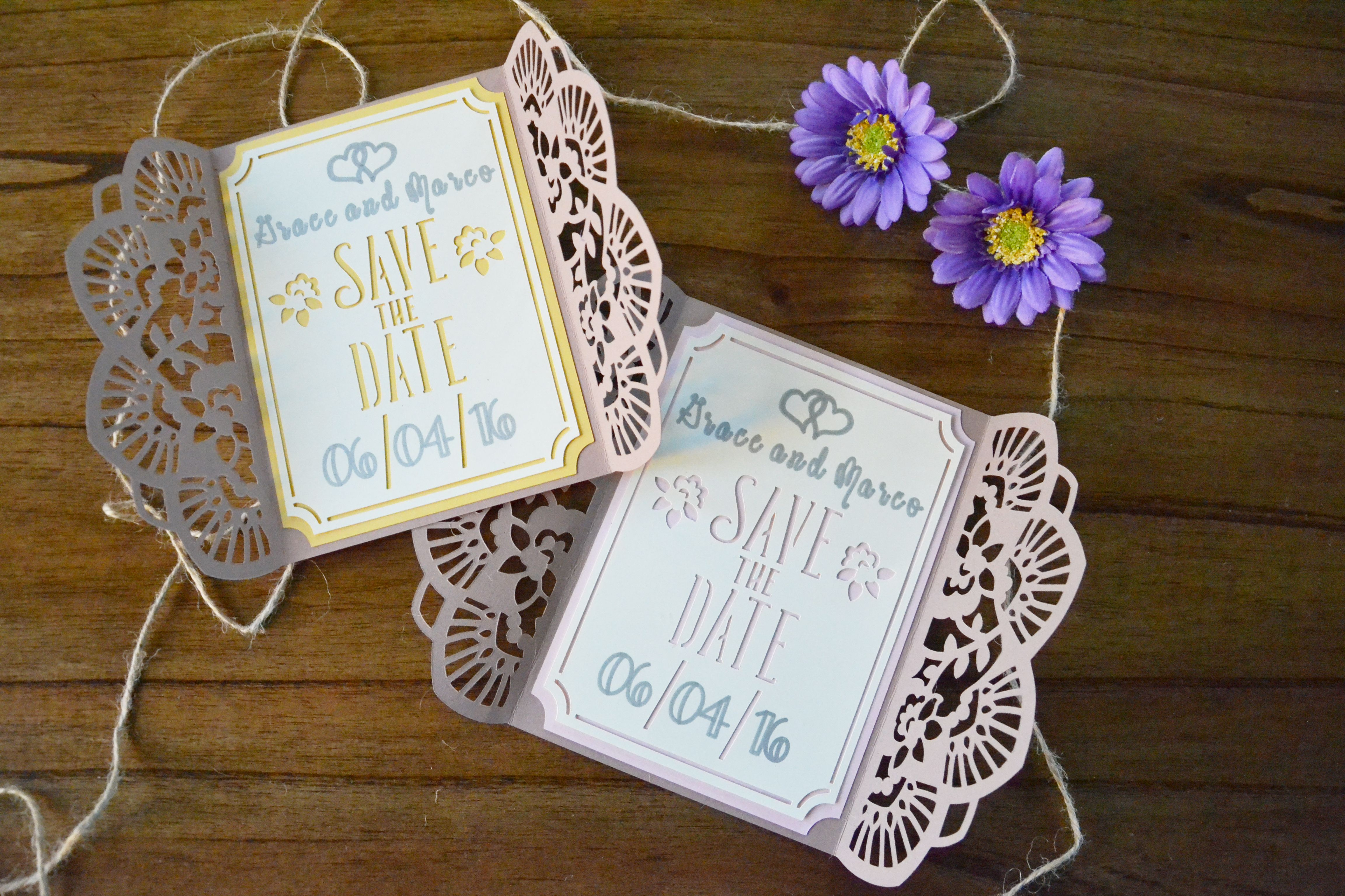 Intricately Cut Gated Save the Dates shop