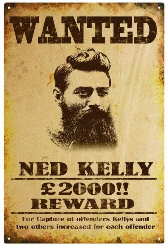 ned kelly wanted poster - Google Search Mortus Australis Pinterest - criminal wanted poster